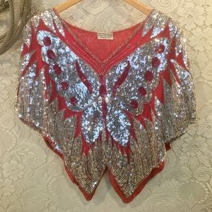 Vintage Red and Silver Sequined Butterfly top